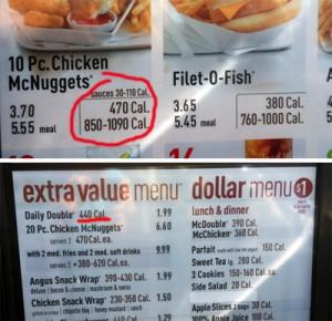 mcdonals menu
